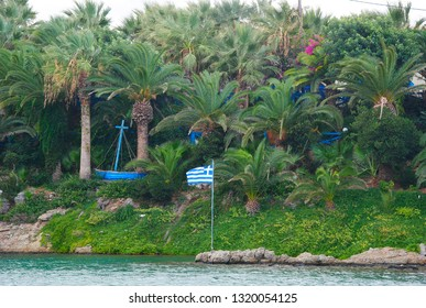 view on the grassy palm bay of Sisi on the isle Crete in Greece from the port of Sisi