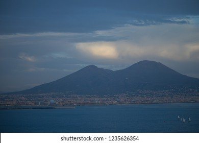 The view on the great Mount Vesuvius, the stratovolcano in the Gulf of Naples, Italy in autumn day. Sunset