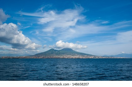 The view on the  great Mount Vesuvius, the stratovolcano in the Gulf of Naples, Italy