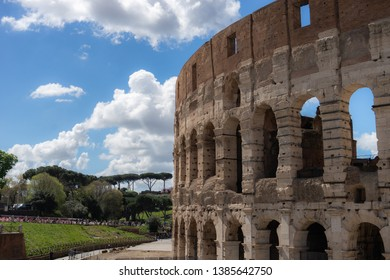 view on the Great Roman Colosseum, Coliseum, Colosseo, also known as the Flavian Amphitheatre. Rome. Italy. Europe