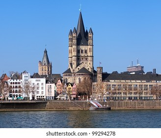 View on Great St. Martin Church and Tower of City Hall in Cologne, Germany