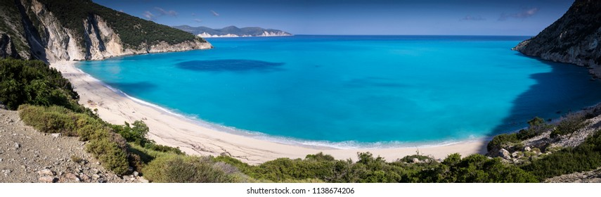view on Greek beach of Myrthos in Kefalonia island