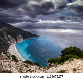 view on Greek beach of Myrthos in Kefalonia island