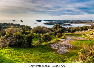 View On Green Coastline And Small Islands Near Vrsar - Vrsar, Istria, Croatia, Europe