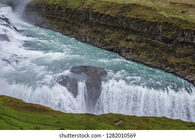 View on the Gullfoss waterfall in southwestern part of the Iceland
