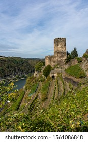 view on gutenfels castle on rheinsteig hiking trail in the middle rhine valley, germany
