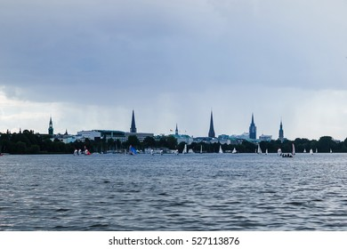 View on the Hamburg skyline at the rainy day.