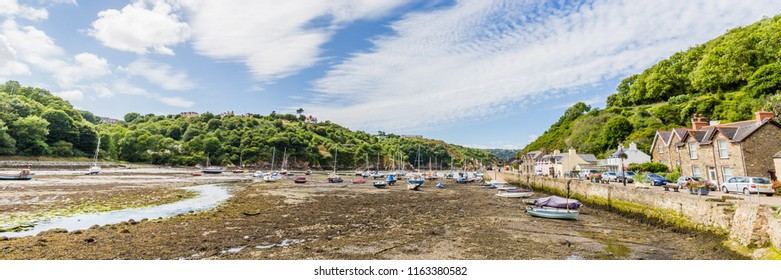 View on the harbor of Fishguard lower town during low tide on he coast of  Pembrokeshire, in Wales, UK