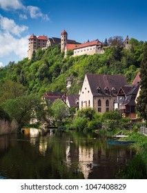 "View on the Harburg Castle from the bridge over the river of Wornitz in the city of Harburg in Bavaria, Germany. It is a part of the scenic route called ""Romantic Road""."