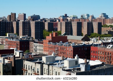 View on the Harlem housing projects and modern buildings