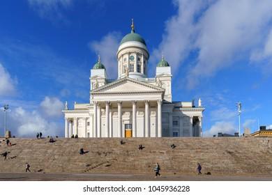 view on Helsinki Cathedral (Helsingin tuomiokirkko Nikolainkirkko), Helsinki, Finland