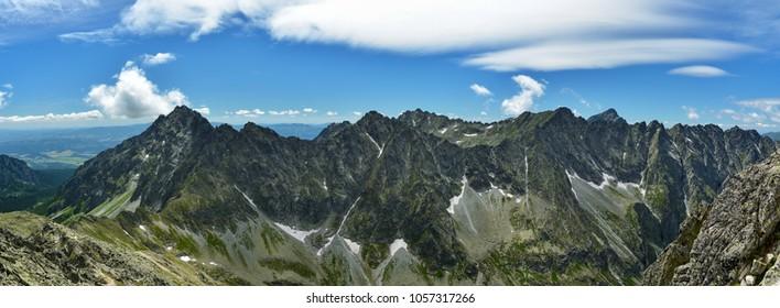 View on High Tatras with famous Krivan peak as seen from Koprovsky peak during summer hike