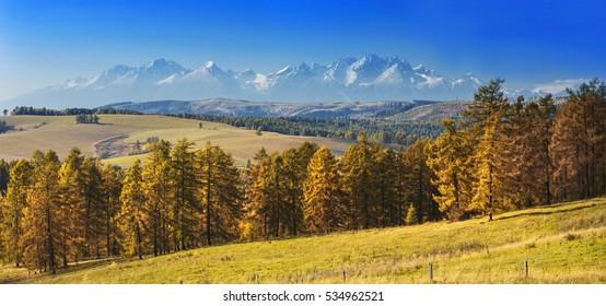 View on High Tatras mountain on beautiful autumn morning,Slovakia