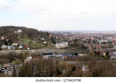 view on the hill and buildings in bielefeld germany photographed during a sightseeing tour at a sunny day