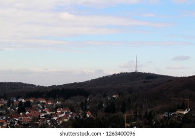 view on the hills and the blue sky in bielefeld germany photographed during a sightseeing tour at a sunny day