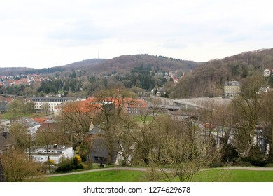 view on the hills and the natural landscape in bielefeld germany photographed during a sightseeing tour at a sunny day