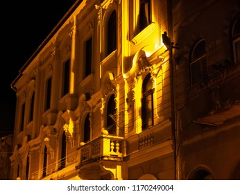View on the historic architecture of Miskolc, Hungary, Europe on at night.