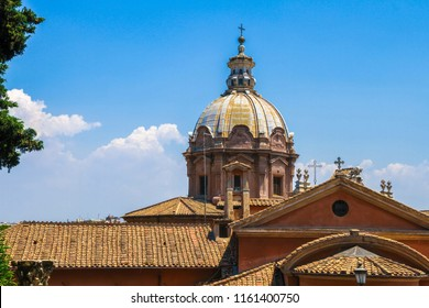 View on a historic church in Rome, Italy on a sunny day.
