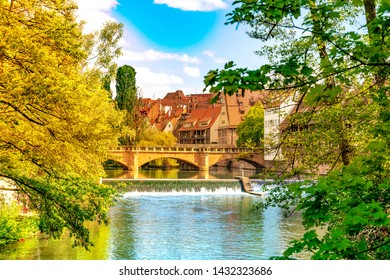 View on historic medieval Architecture and the river Pegnitz in Nuremberg, Germany.