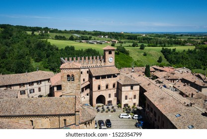 View on the historic town of Castell Arquato in Italy