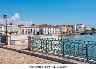 View on historic town of Tavira from Roman bridge over River Gilao. Algarve, Portugal