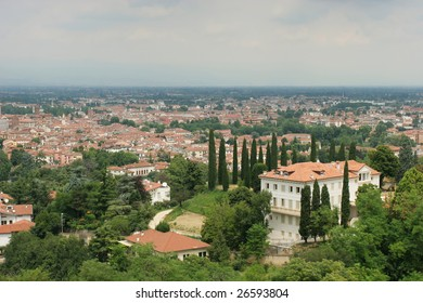View on historical center of Vicenza from the top (Italy)