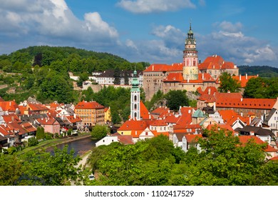 View on historical centre of Cesky Krumlov, Unesco heritage, Czech republic
