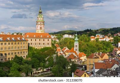 View on historical centre of Cesky Krumlov,Czech republic