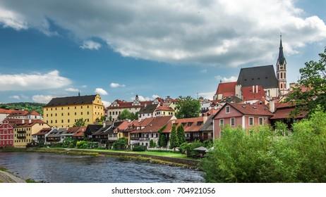 View on historical centre of Cesky Krumlov under amazing cloudy sky.  Bohemia .Czech republic .Europe. Unesco heritage.