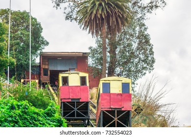View on historical Funicular in Valparaiso Chile
