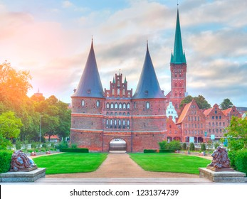 View on Historical Holstentor City Gate. Famous place in Lubeck. Germany