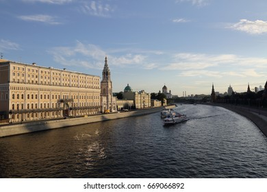 view on historical Moscow on Sofievskaya embankments from Bolshoy Moskvoretsky Bridge