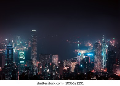 View on Hong Kong city skyline from the peak at night