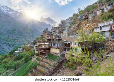 View on Howraman village or Uraman Takht in Zagros Mountain. Kurdistan Province, Iran.
