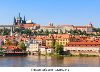 View on Hradcany and Prague castle with St. Vitus cathedral from Charles bridge