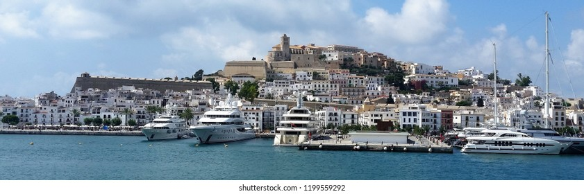 View on Ibiza town and yachts from the sea