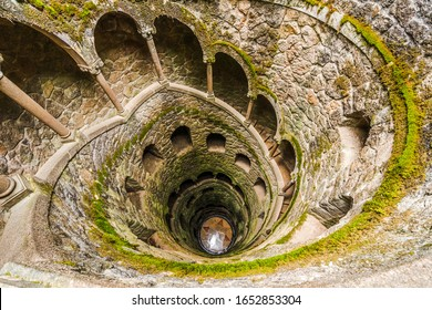 View on Initiation Well of Quinta da Regaleira in Sintra, Portugal