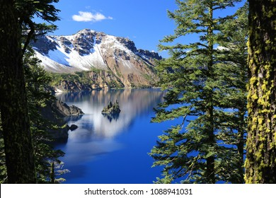 view on island in crater lake, oregon, united states