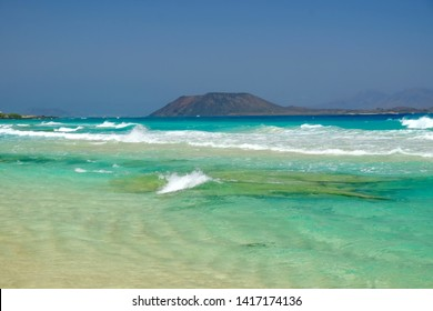 View on the Island Lobos from the beach Corralejo on the Canary Island Fuerteventura, Spain.