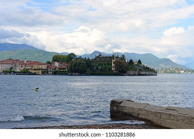 View on Isola Bella or Beautiful Island, one of the Borromean Islands  in Lago Maggiore in the Piedmont region in  Italy
