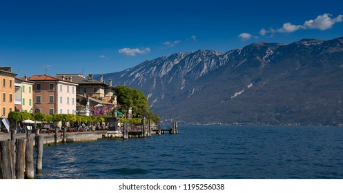 view on the Italian  village of Gargnano on the Lake Garda