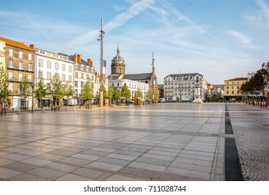 View on the Jaude square during the morning light in Clermont-Ferrand city in central France