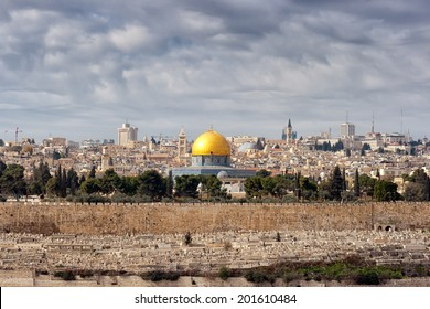 View on Jerusalem with the Dome of the Rock from the Mount of Olives.