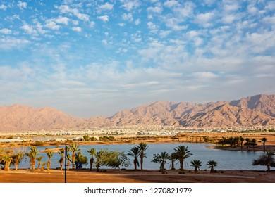 View on Jordan Aqaba city from Eilat. Aqaba bay