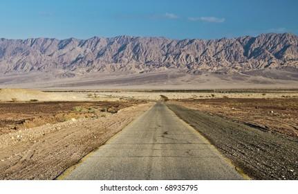 View on Jordanian mountains in Arava desert