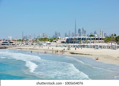View on Jumeirah Beach with in background the skyline of Dubai, United Arab Emirates