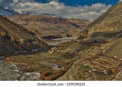 View on Kagbeni village located in the valley of the Kali Gandaki River. Upper Mustang, Nepal. - Image
