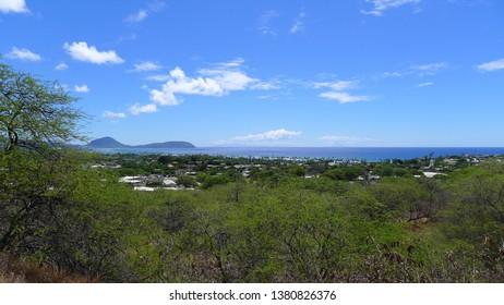 View on Kailua from Diamond Head in Hawaii