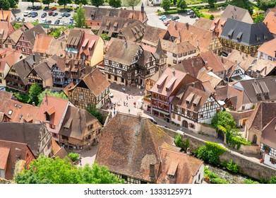 view on Kaysersberg from bird eye, Alsace, France