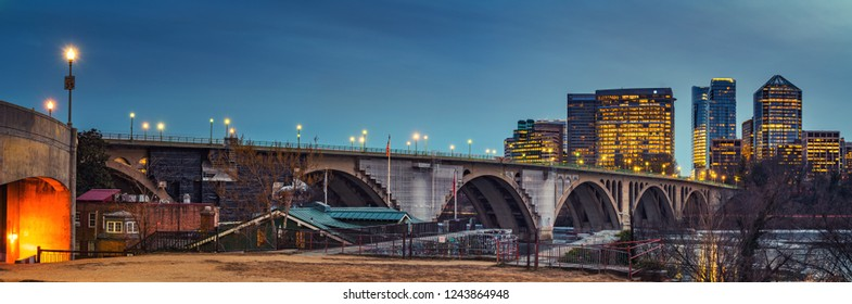 View on Key bridge and Rosslyn skyscrapers at dusk, Washington DC, USA